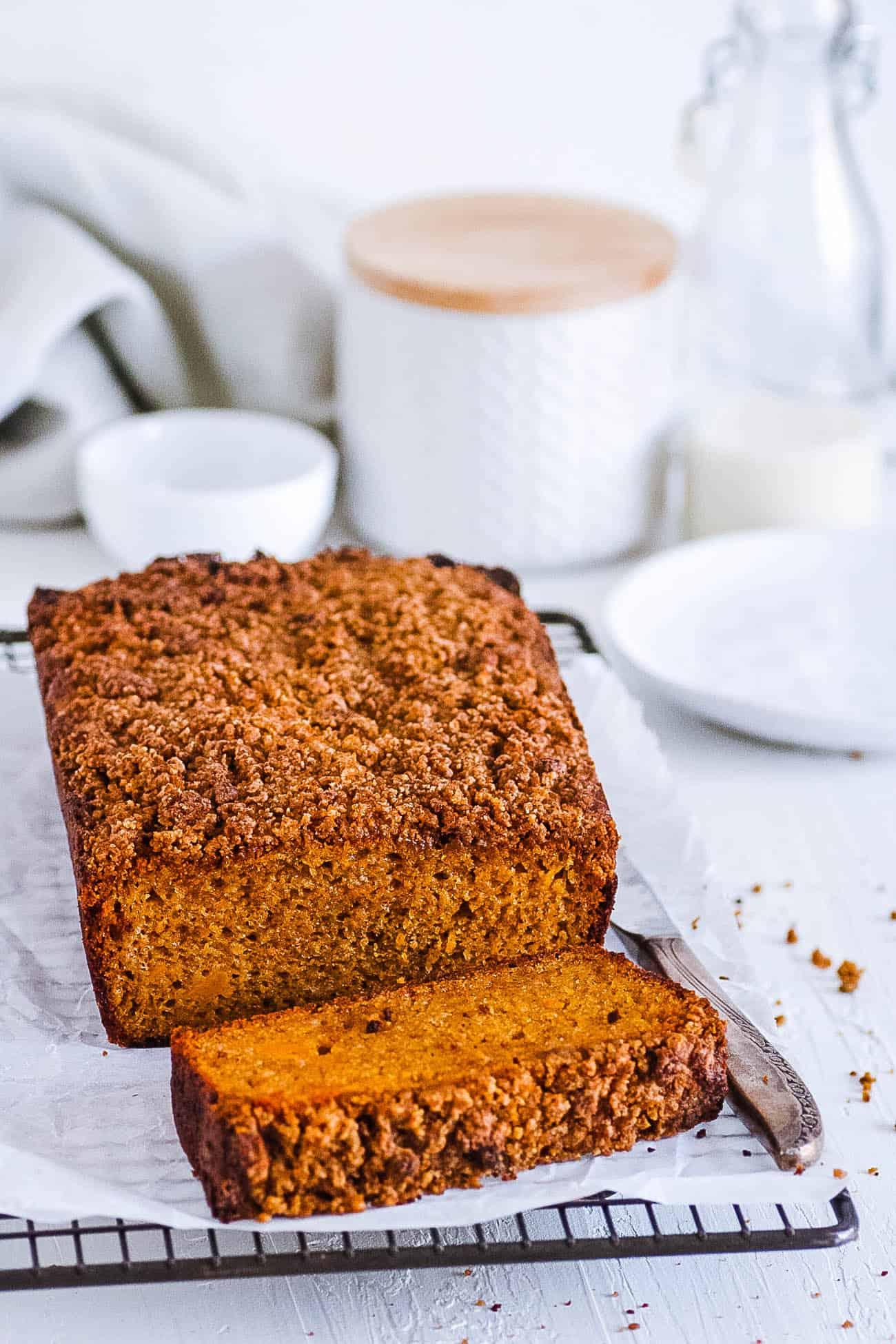 gluten free pumpkin bread - pumpkin coffee cake - on a wire rack