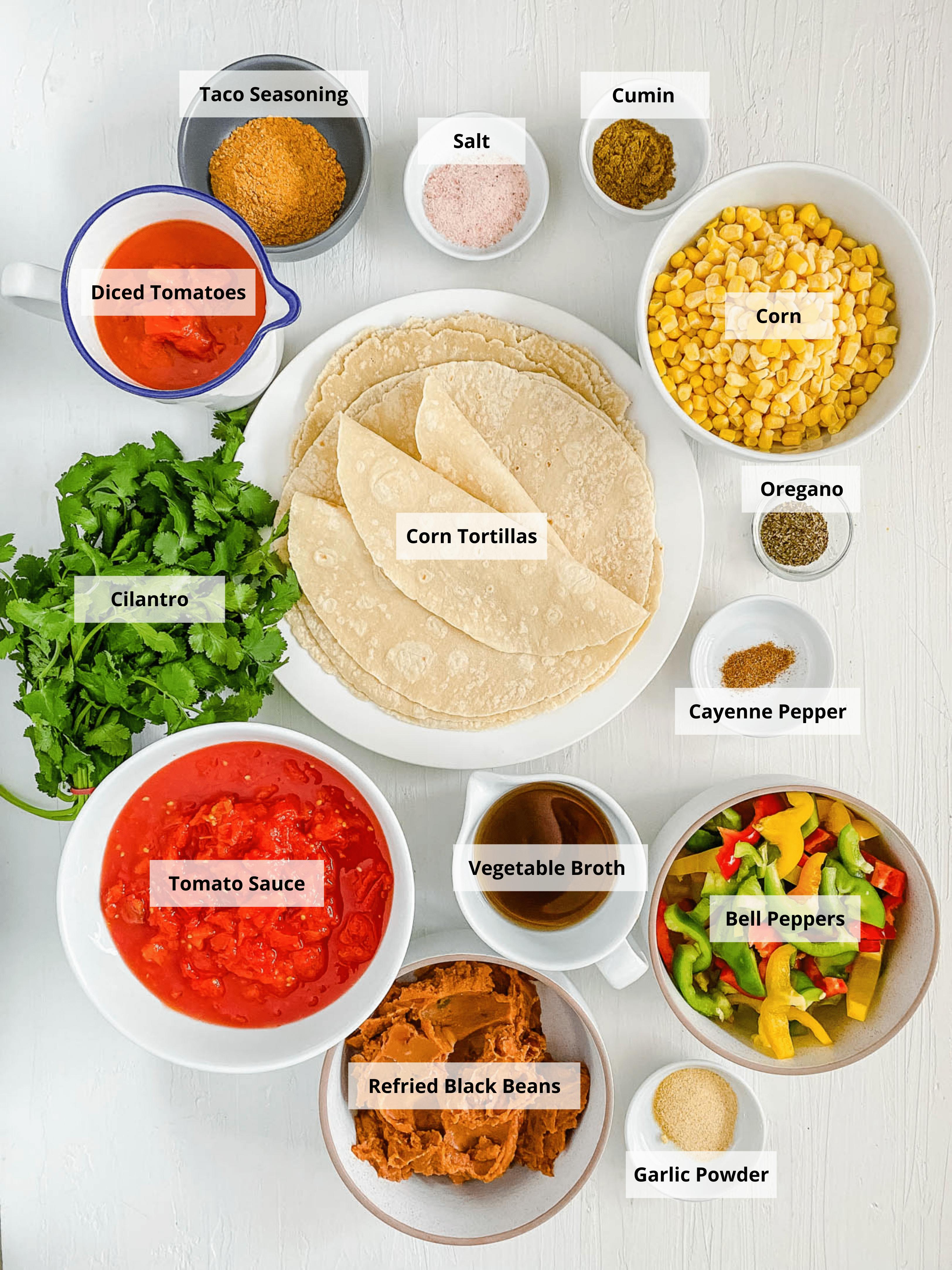 ingredients for easy healthy vegan enchilada casserole recipe