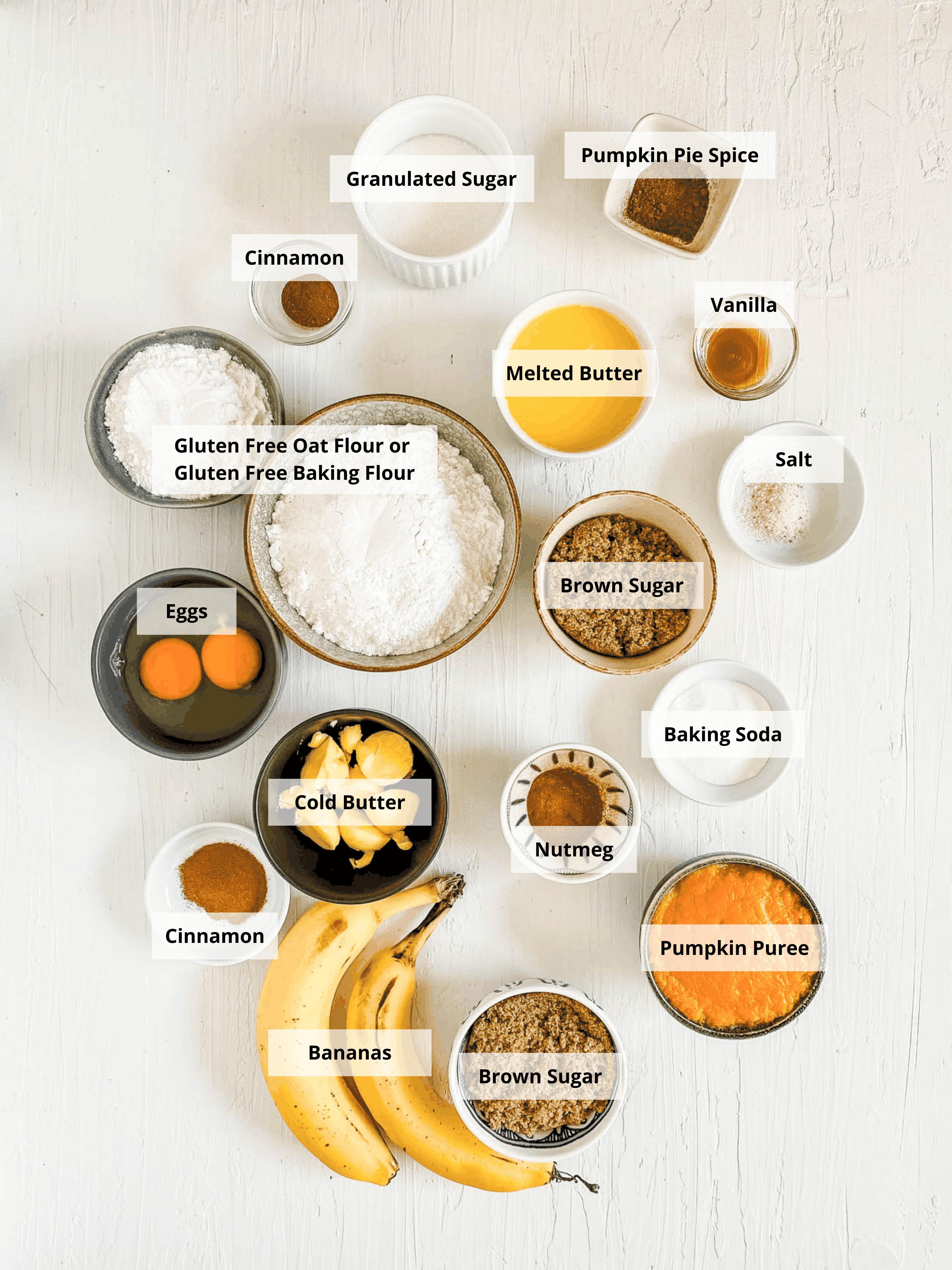 ingredients for gluten free pumpkin bread - pumpkin coffee cake