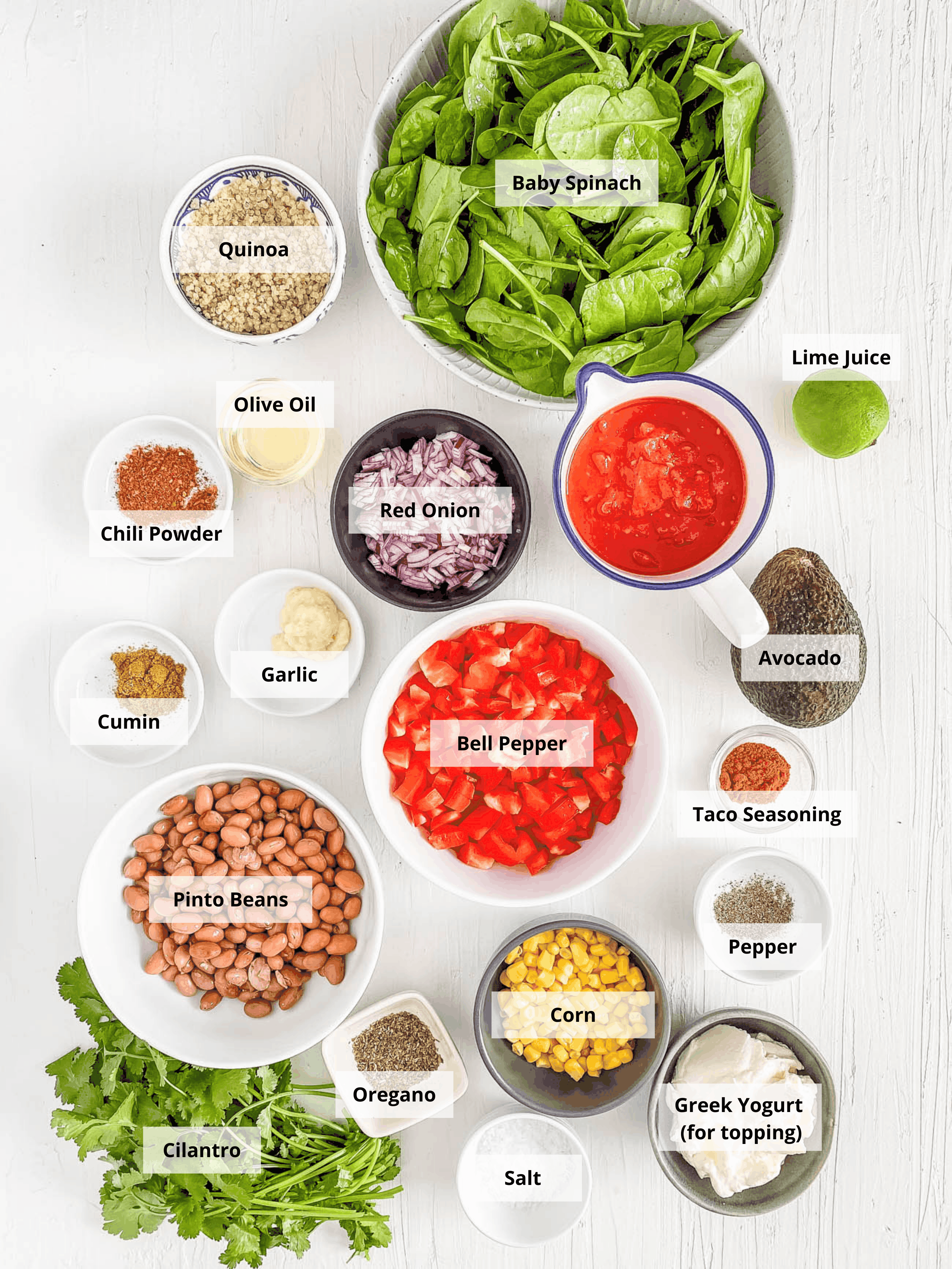 ingredients for easy pinto bean casserole recipe