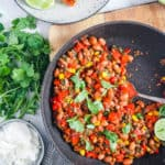 easy healthy pinto bean casserole recipe in a pan - vegetarian and gluten free
