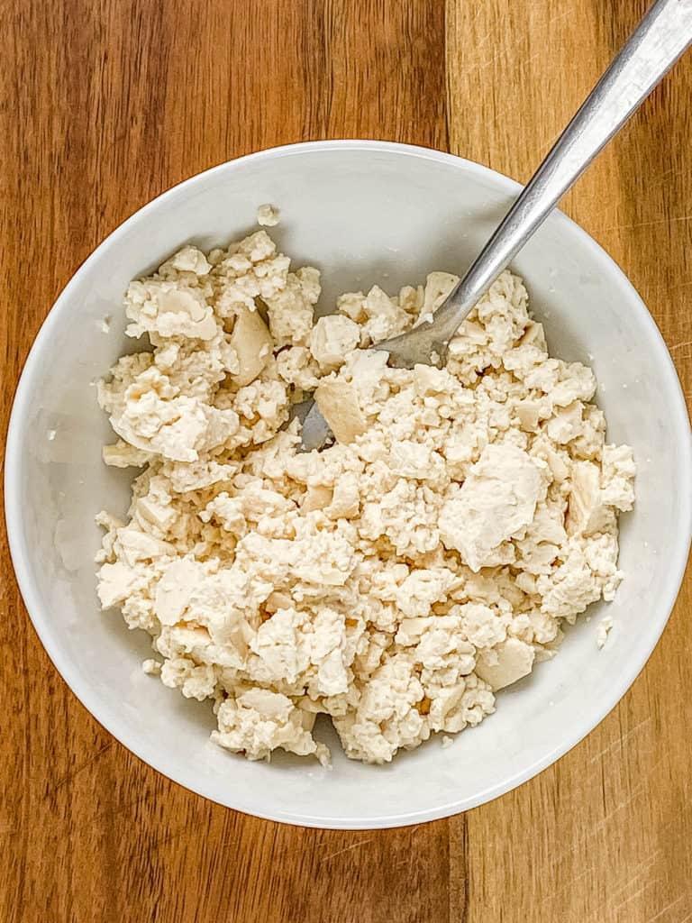 tofu crumbled in a bowl