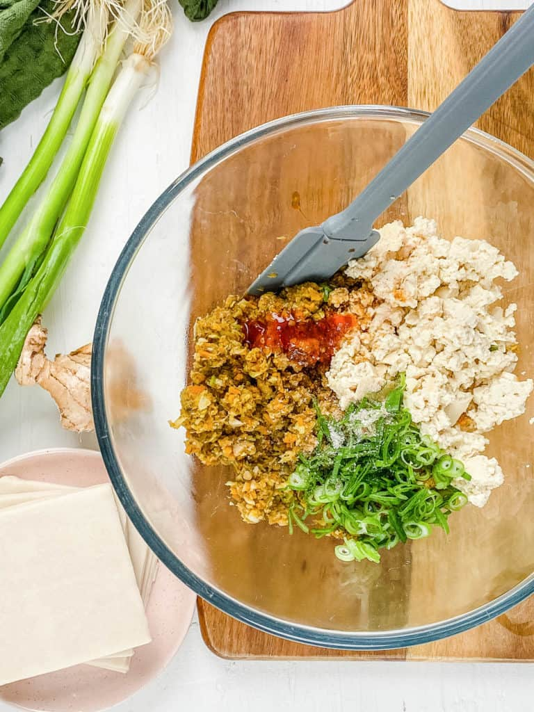 tofu and filling ingredients mixed in a bowl